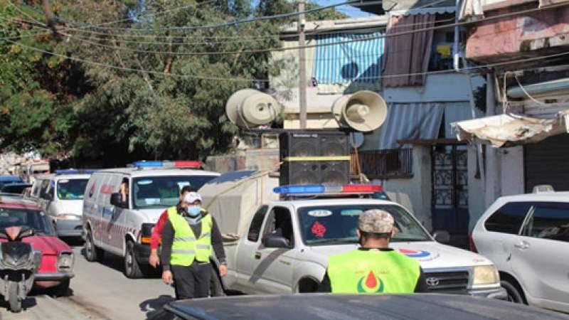 سيارات الإسعاف تجول في أحياء عين الحلوة للتوعية على مخاطر كورونا