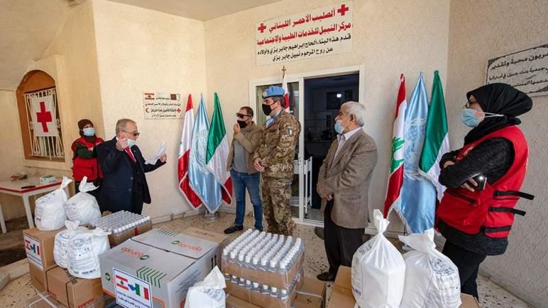 هبة طبية من الجيش الايطالي للصليب الاحمر في بنت جبيل في اطار المكافحة المشتركة لجائحة كورونا