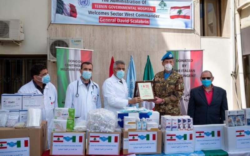 هبة طبية من الكتيبة الايطالية الى مستشفى تبنين الحكومي لمكافحة الجائحة